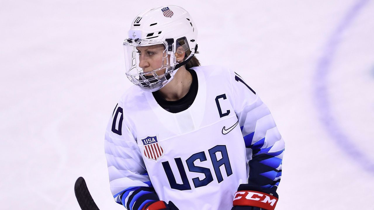 USA's Meghan Duggan looks on in the women's preliminary round ice hockey match between the US and Canada during the Pyeongchang 2018 Winter Olympic Games at the Kwandong Hockey Centre in Gangneung on February 15, 2018. / AFP PHOTO / Brendan Smialowski