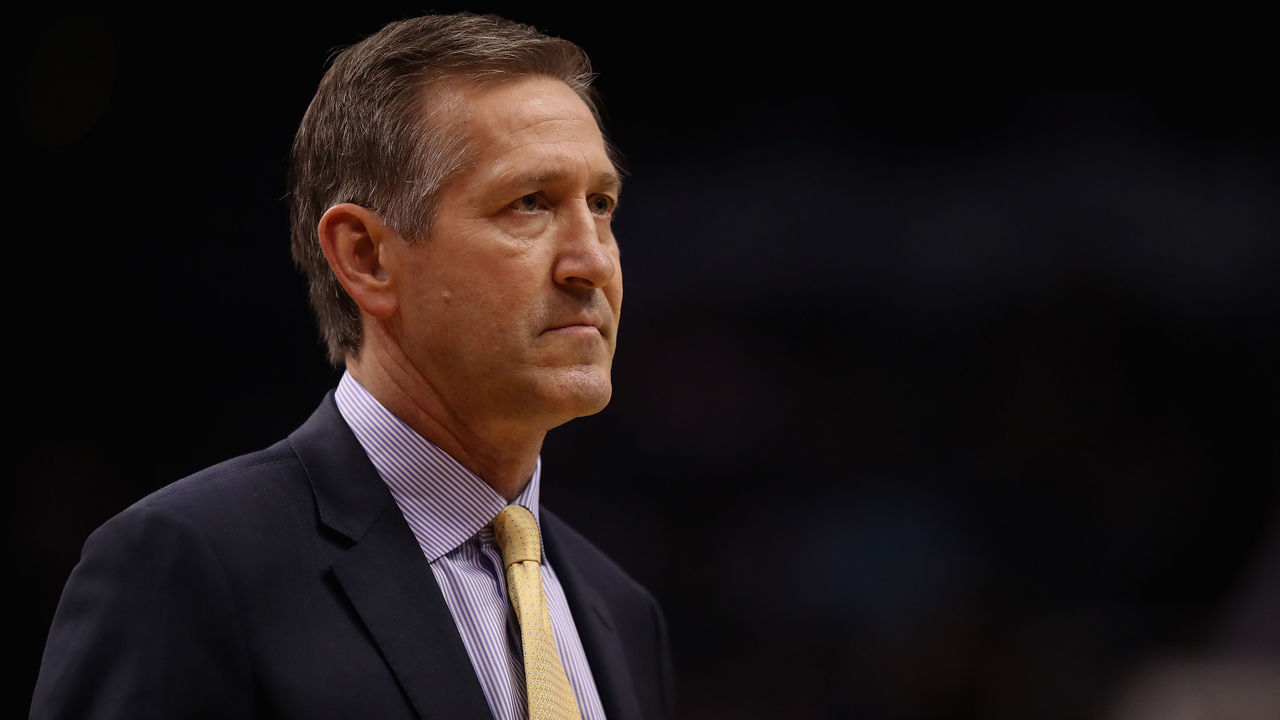 PHOENIX, AZ - JANUARY 26: Head coach Jeff Hornacek of the New York Knicks during the first half of the NBA game against the Phoenix Suns at Talking Stick Resort Arena on January 26, 2018 in Phoenix, Arizona.