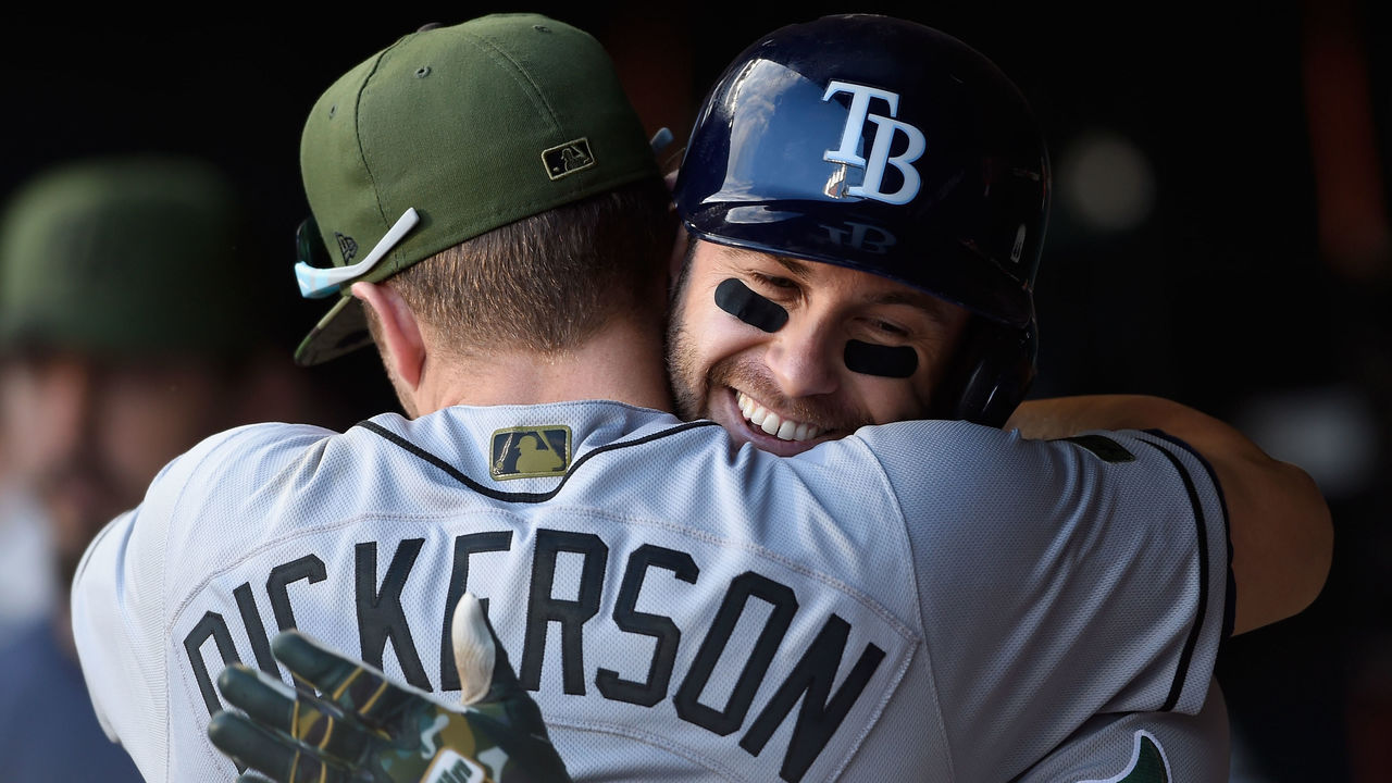 MINNEAPOLIS, MN - MAY 28: Corey Dickerson #10 of the Tampa Bay Rays congratulates teammate Evan Longoria #3 of the Tampa Bay Rays on a solo home run against the Minnesota Twins during the fifteenth inning of the game on May 28, 2017 at Target Field in Minneapolis, Minnesota. The Rays defeated the Twins 8-6 in fifteen innings.