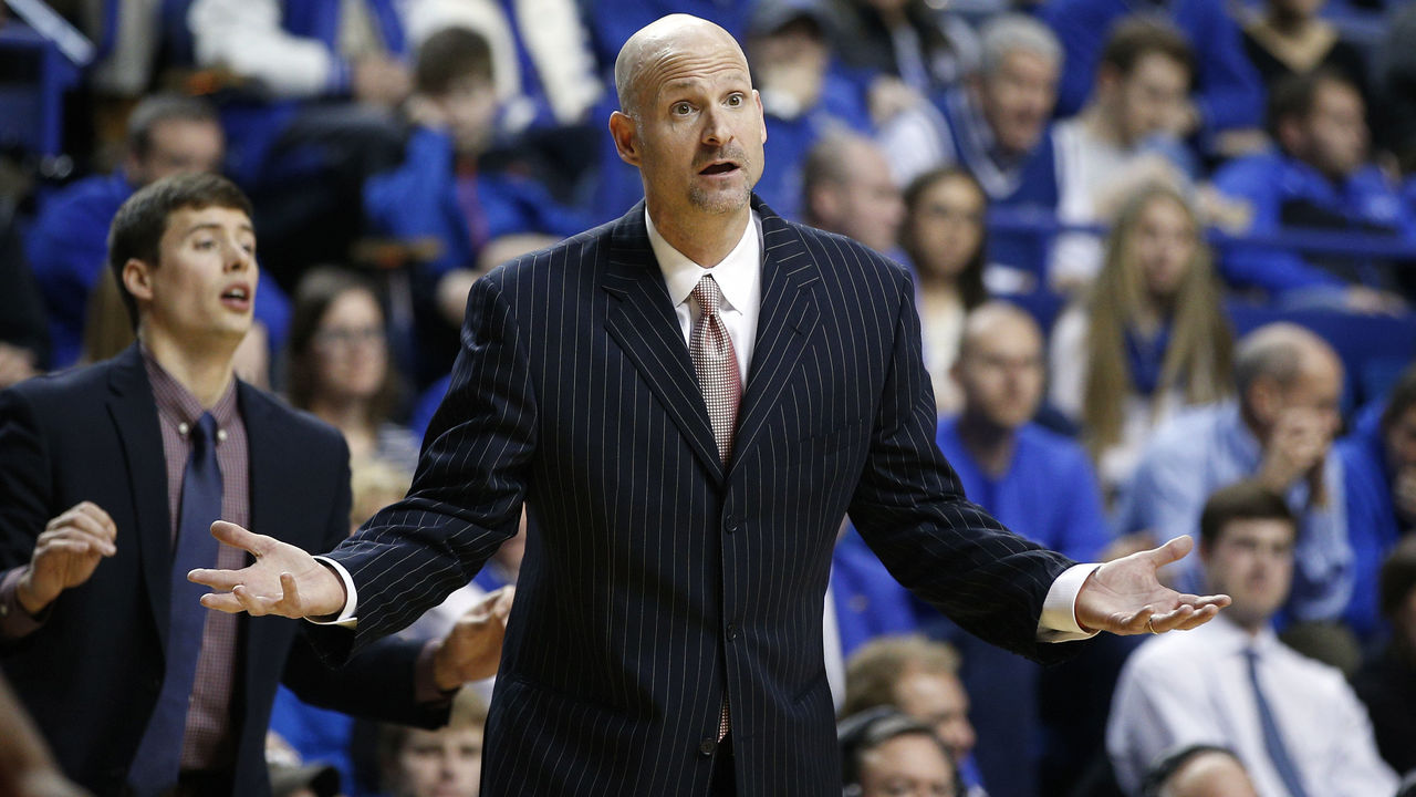 LEXINGTON, KY - JANUARY 6: Head coach Andy Kennedy of the Mississippi Rebels reacts to a call in the second half of the game against the Kentucky Wildcats at Rupp Arena on January 6, 2015 in Lexington, Kentucky. Kentucky defeated Mississippi 89-86 in overtime.