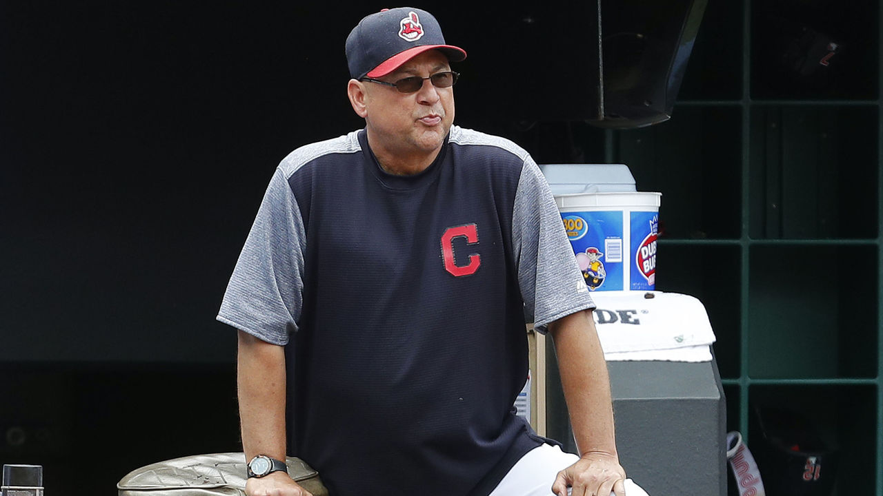 CLEVELAND, OH - AUGUST 06: Manager Terry Francona #17 of the Cleveland Indians watches from the dugout in the fifth inning against the New York Yankees at Progressive Field on August 6, 2017 in Cleveland, Ohio. The Yankees defeated the Indians 8-1.