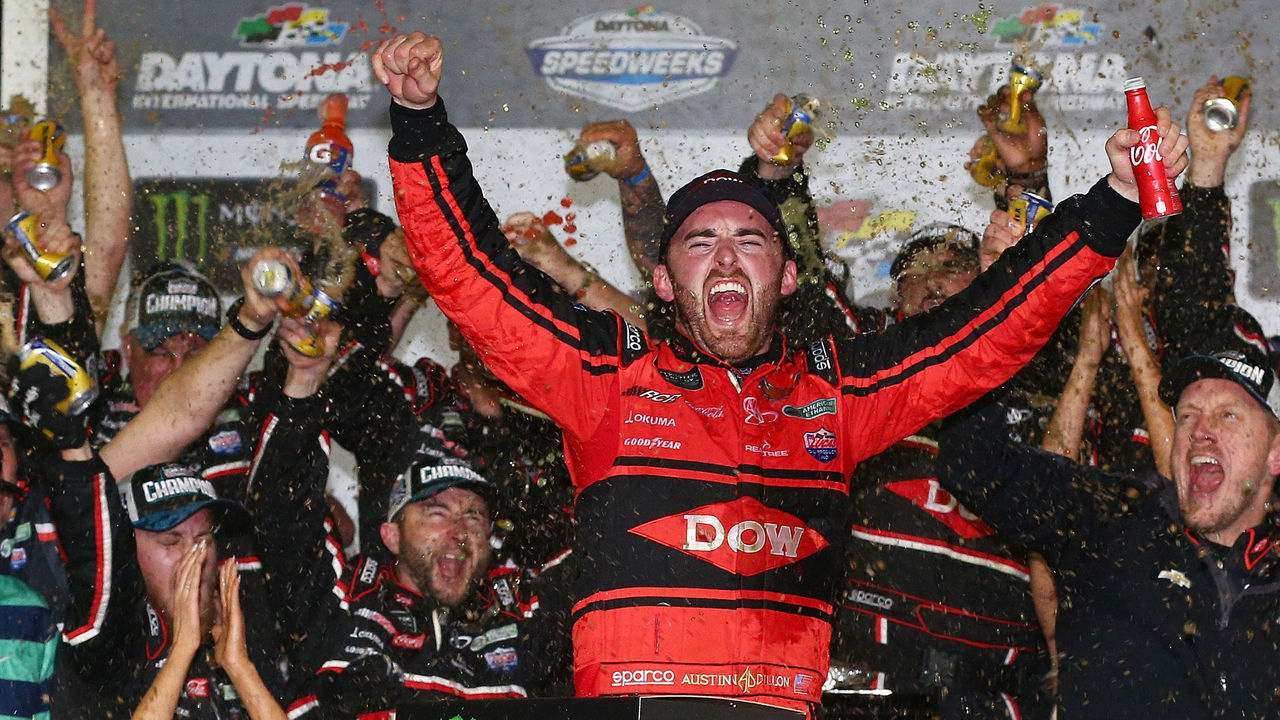 DAYTONA BEACH, FL - FEBRUARY 18: Austin Dillon, driver of the #3 DOW Chevrolet, celebrates in Victory Lane after winning the Monster Energy NASCAR Cup Series 60th Annual Daytona 500 at Daytona International Speedway on February 18, 2018 in Daytona Beach, Florida.