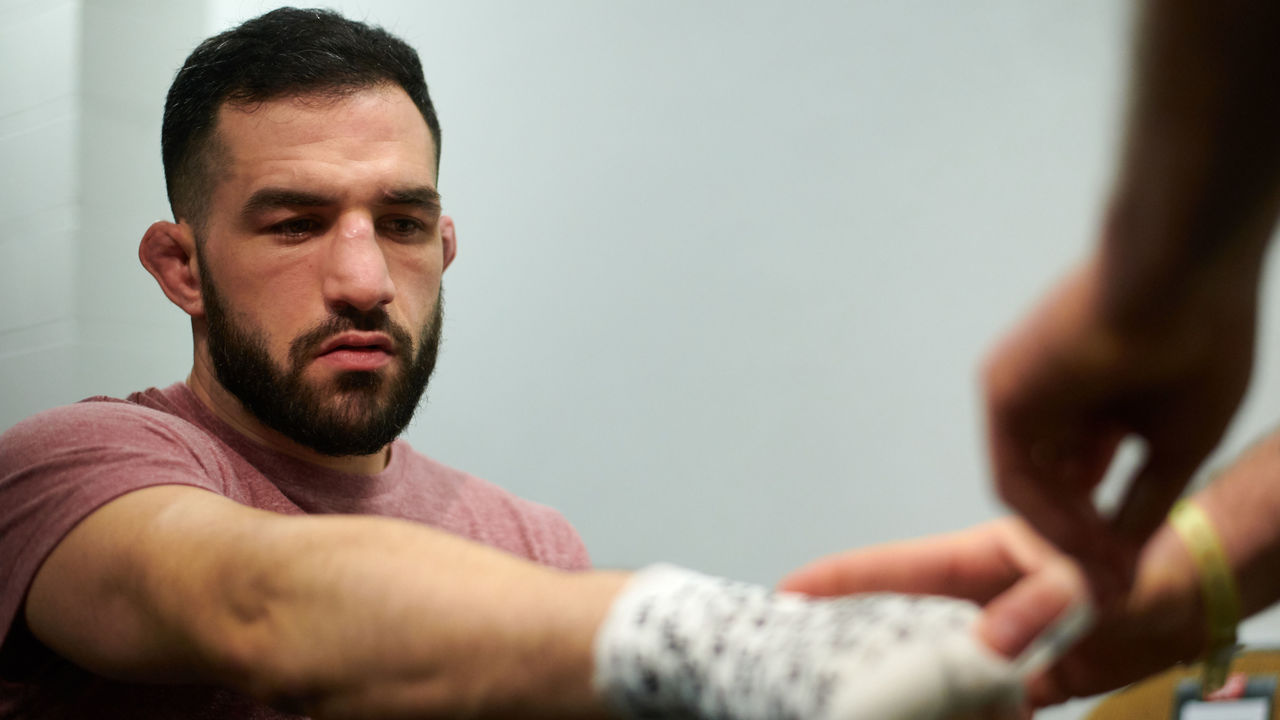 AUSTIN, TX - FEBRUARY 18: Jared Gordon has his hands wrapped before fighting Carlos Diego Ferreira during the UFC Fight Night event at Frank Erwin Center on February 18, 2018 in Austin, Texas.
