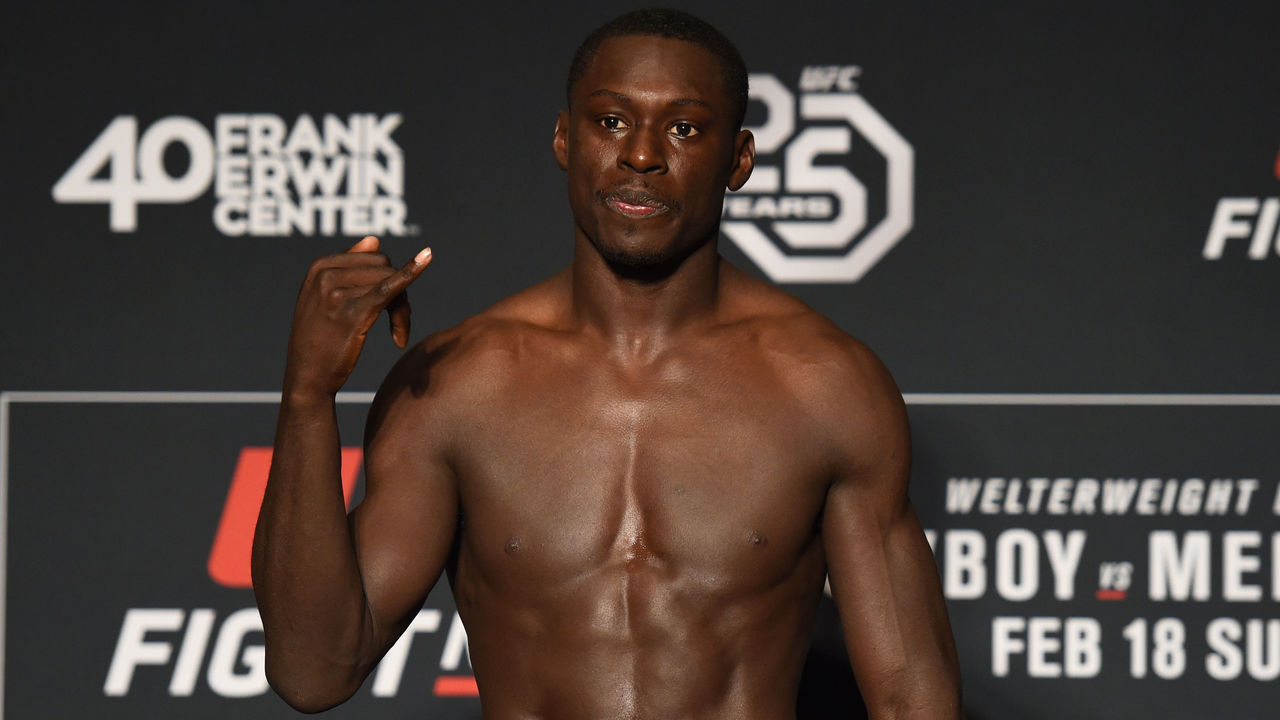 AUSTIN, TX - FEBRUARY 17: Curtis Millender poses on the scale during the UFC Fight Night Weigh-in at the JW Marriott hotel on February 17, 2018 in Austin, Texas.