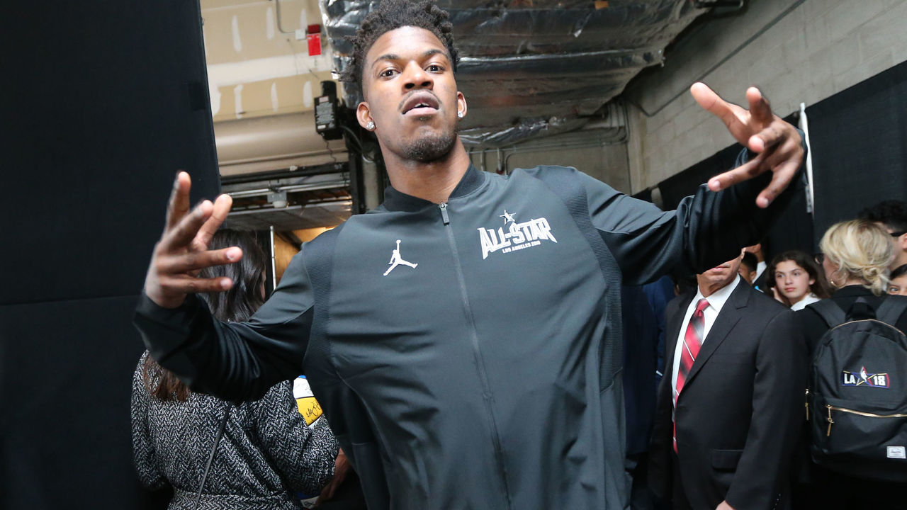 LOS ANGELES, CA - FEBRUARY 18: Jimmy Butler #23 of Team Stephen arrives before the game against Team Lebron during the NBA All-Star Game as a part of 2018 NBA All-Star Weekend at STAPLES Center on February 18, 2018 in Los Angeles, California. NOTE TO USER: User expressly acknowledges and agrees that, by downloading and/or using this photograph, user is consenting to the terms and conditions of the Getty Images License Agreement. Mandatory Copyright Notice: Copyright 2018 NBAE