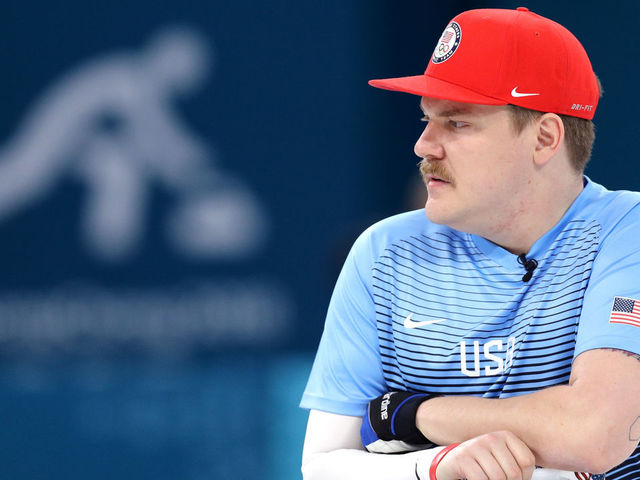 GANGNEUNG, SOUTH KOREA - FEBRUARY 19: Matt Hamilton of the United States of America looks on during Men's Round Robin Session 9 on day 10 of the PyeongChang 2018 Winter Olympic Games at Gangneung Curling Centre on February 19, 2018 in Pyeongchang-gun, South Korea.