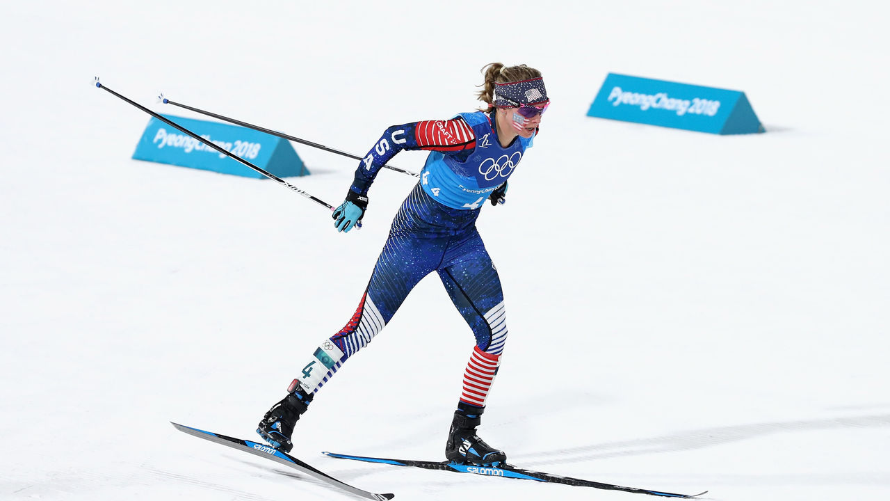 PYEONGCHANG-GUN, SOUTH KOREA - FEBRUARY 17: Jessica Diggins of the United States competes during the Ladies' 4x5km Relay on day eight of the PyeongChang 2018 Winter Olympic Games at Alpensia Cross-Country Centre on February 17, 2018 in Pyeongchang-gun, South Korea.