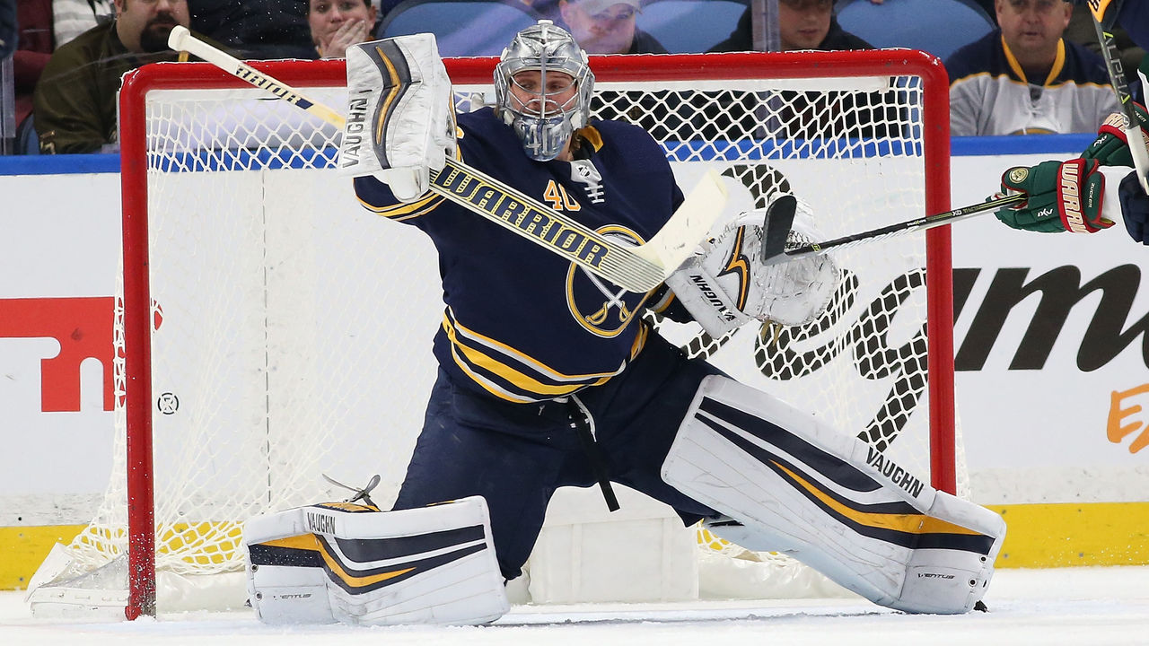 BUFFALO, NY - NOVEMBER 22: Robin Lehner #40 of the Buffalo Sabres makes a pad save on a shot by the Minnesota Wild during the second period at the KeyBank Center on November 22, 2017 in Buffalo, New York.