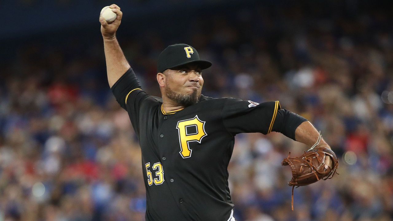 TORONTO, ON - AUGUST 12: Joaquin Benoit #53 of the Pittsburgh Pirates delivers a pitch in the seventh inning during MLB game action against the Toronto Blue Jays at Rogers Centre on August 12, 2017 in Toronto, Canada.