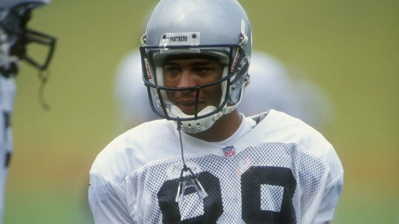 25 Jul 1998: Wide receiver Rae Carruth #89 of the Carolina Panthers looks on during the 1998 Carolina Panthers Training Camp at the Wofford College in Spartanburg, South Carolina. Mandatory Credit: Erik Perel /Allsport
