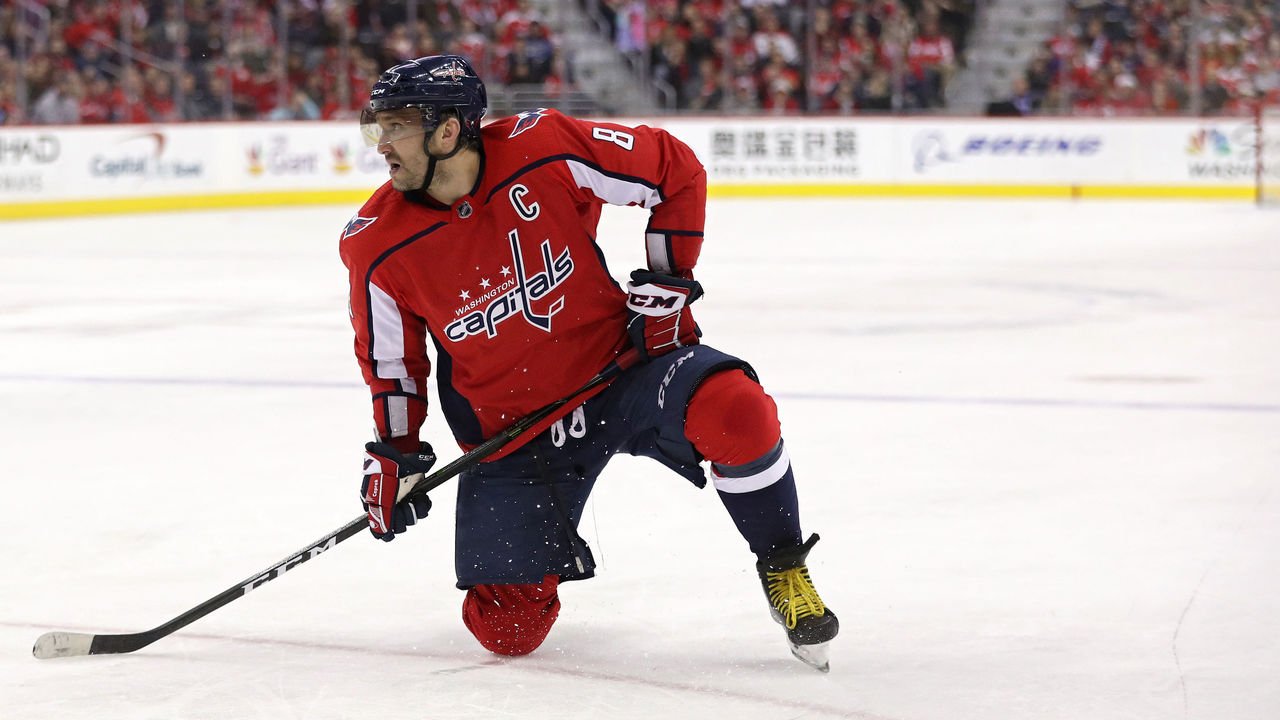 WASHINGTON, DC - DECEMBER 28: Alex Ovechkin #8 of the Washington Capitals looks on against the Boston Bruins during the second period at Capital One Arena on December 28, 2017 in Washington, DC.