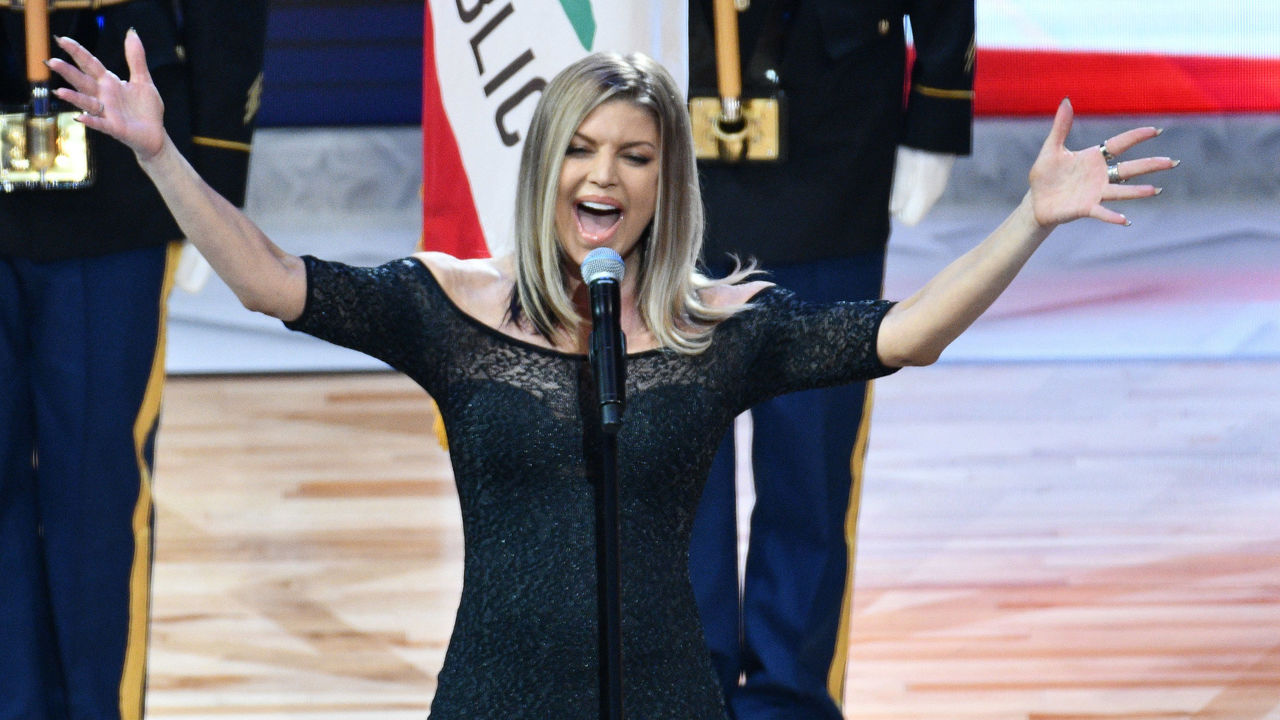 LOS ANGELES, CA - FEBRUARY 18: Singer Fergie sings the national anthem prior to The 67th NBA All-Star Game: Team LeBron Vs. Team Stephen at Staples Center on February 18, 2018 in Los Angeles, California.