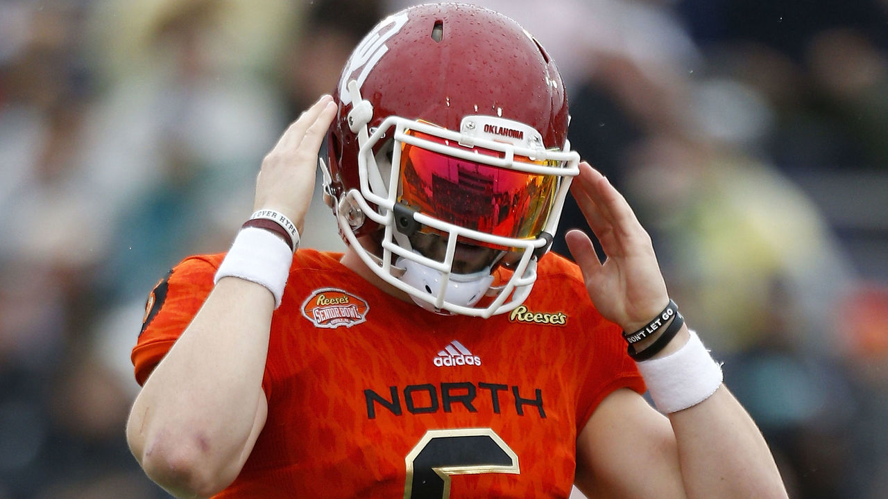 MOBILE, AL - JANUARY 27: Baker Mayfield #6 of the North team reacts during the first half of the Reese's Senior Bowl against the the South team at Ladd-Peebles Stadium on January 27, 2018 in Mobile, Alabama.
