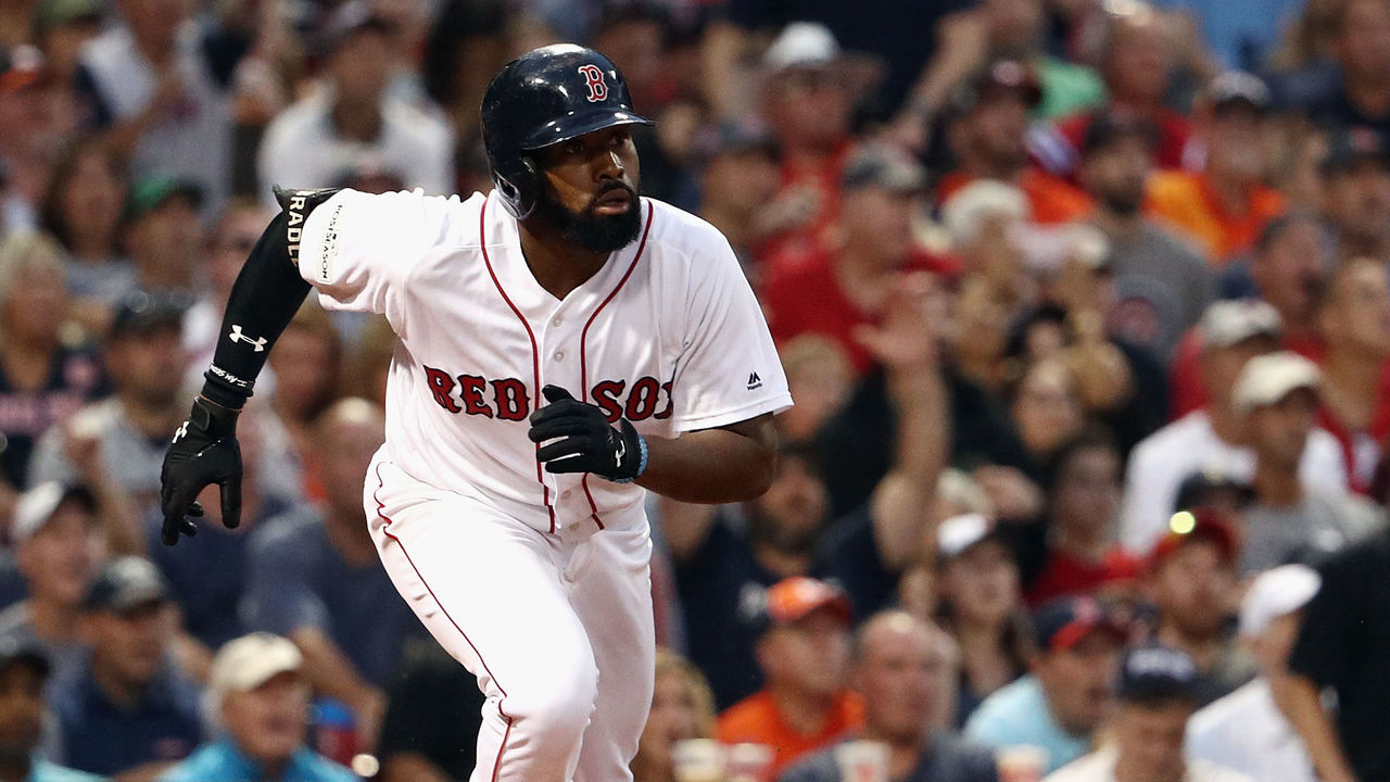 BOSTON, MA - OCTOBER 08: Jackie Bradley Jr. #19 of the Boston Red Sox runs the bases after hitting a three-run home run in the seventh inning against the Houston Astros during game three of the American League Division Series at Fenway Park on October 8, 2017 in Boston, Massachusetts.