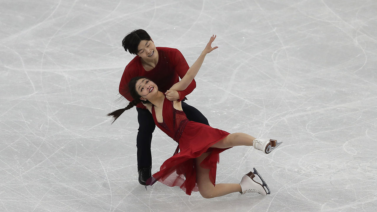 GANGNEUNG, SOUTH KOREA - FEBRUARY 20: Maia Shibutani and Alex Shibutani of the United States compete in the Figure Skating Ice Dance Free Dance on day eleven of the PyeongChang 2018 Winter Olympic Games at Gangneung Ice Arena on February 20, 2018 in Gangneung, South Korea.