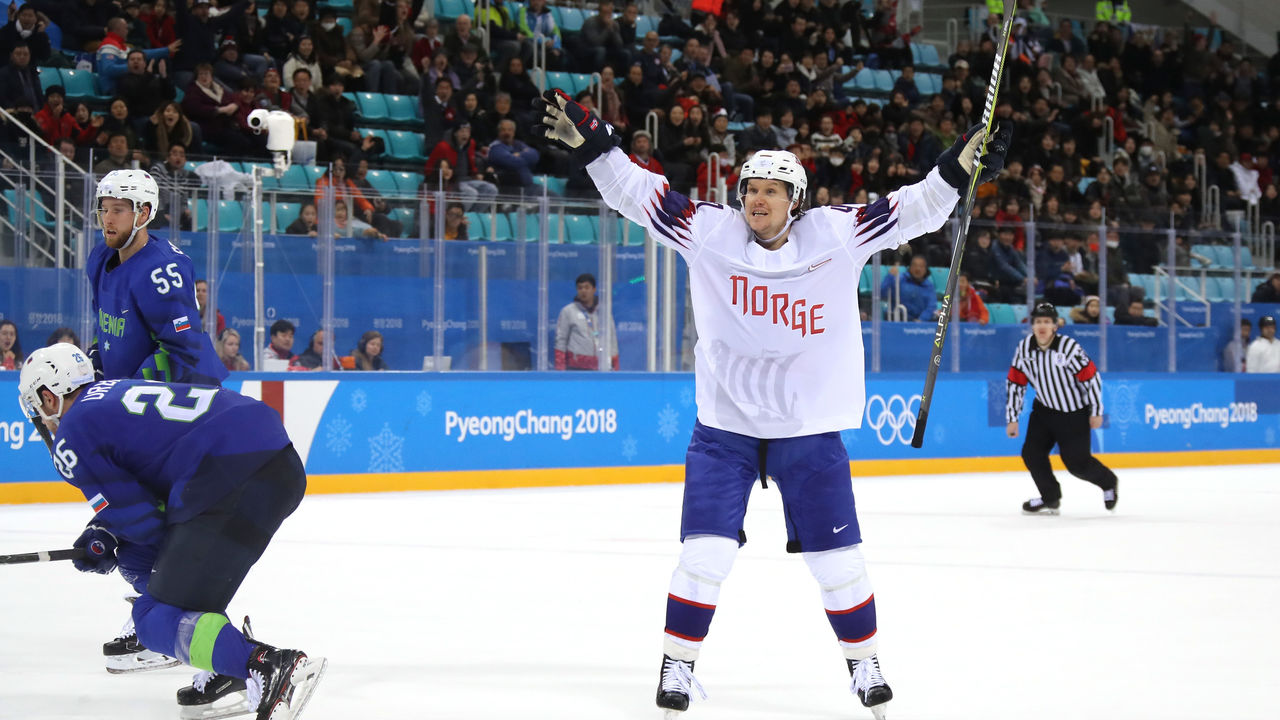 GANGNEUNG, SOUTH KOREA - FEBRUARY 20: Alexander Bonsaksen #47 of Norway celebrates after scoring the game winning goal against Gasper Kroselj #32 of Slovenia in overtime of the Men's Play-offs Qualifications game on day eleven of the PyeongChang 2018 Winter Olympic Games at Gangneung Hockey Centre on February 20, 2018 in Gangneung, South Korea.