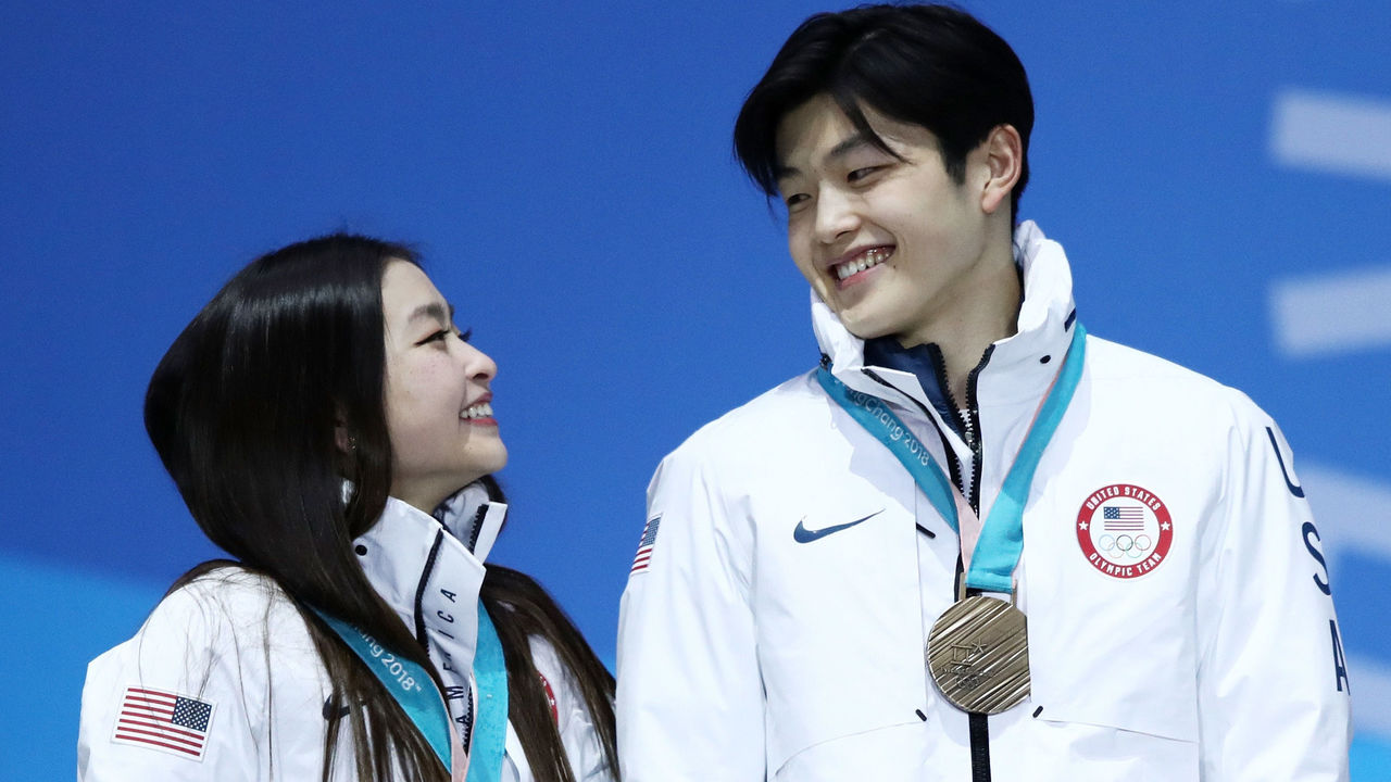 PYEONGCHANG-GUN, SOUTH KOREA - FEBRUARY 20: Bronze medalists Maia Shibutani and Alex Shibutani of the United States celebrate during the medal ceremony for Figure Skating - Ice Dance Free Dance on day 11 of the PyeongChang 2018 Winter Olympic Games at Medal Plaza on February 20, 2018 in Pyeongchang-gun, South Korea.