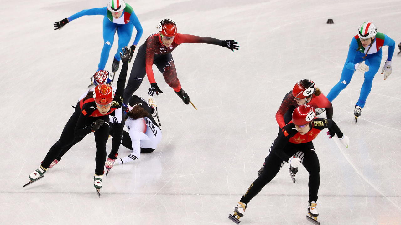 GANGNEUNG, SOUTH KOREA - FEBRUARY 20: General action during the Ladies Short Track Speed Skating 3000m Relay Final A on day eleven of the PyeongChang 2018 Winter Olympic Games at Gangneung Ice Arena on February 20, 2018 in Gangneung, South Korea.