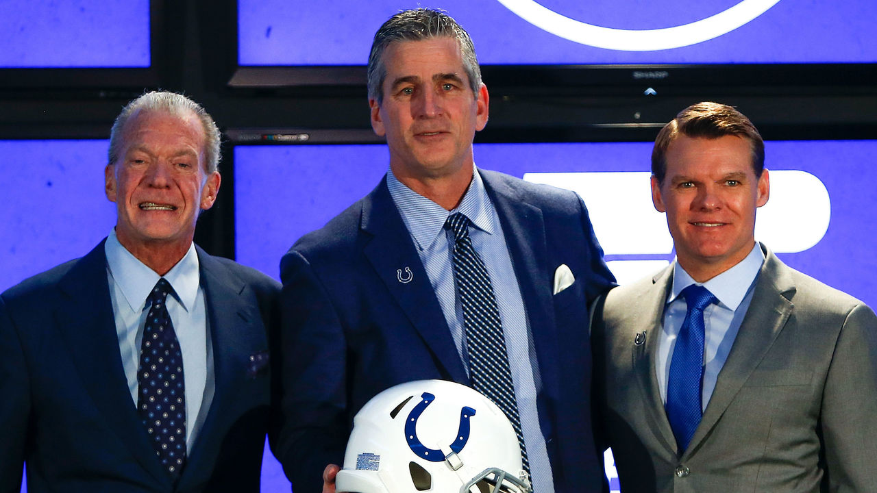 INDIANAPOLIS, IN - FEBRUARY 13: Owner Jim Irsay, head coach Frank Reich and general manager Chris Ballard of the Indianapolis Colts pose for a photo during the press conference introducing head coach Frank Reich at Lucas Oil Stadium on February 13, 2018 in Indianapolis, Indiana.