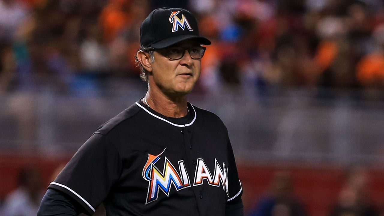 MIAMI, FL - JULY 28: Miami Marlins manager Don Mattingly #8 reacts during the second inning of the game against the St. Louis Cardinals at Marlins Park on July 28, 2016 in Miami, Florida.
