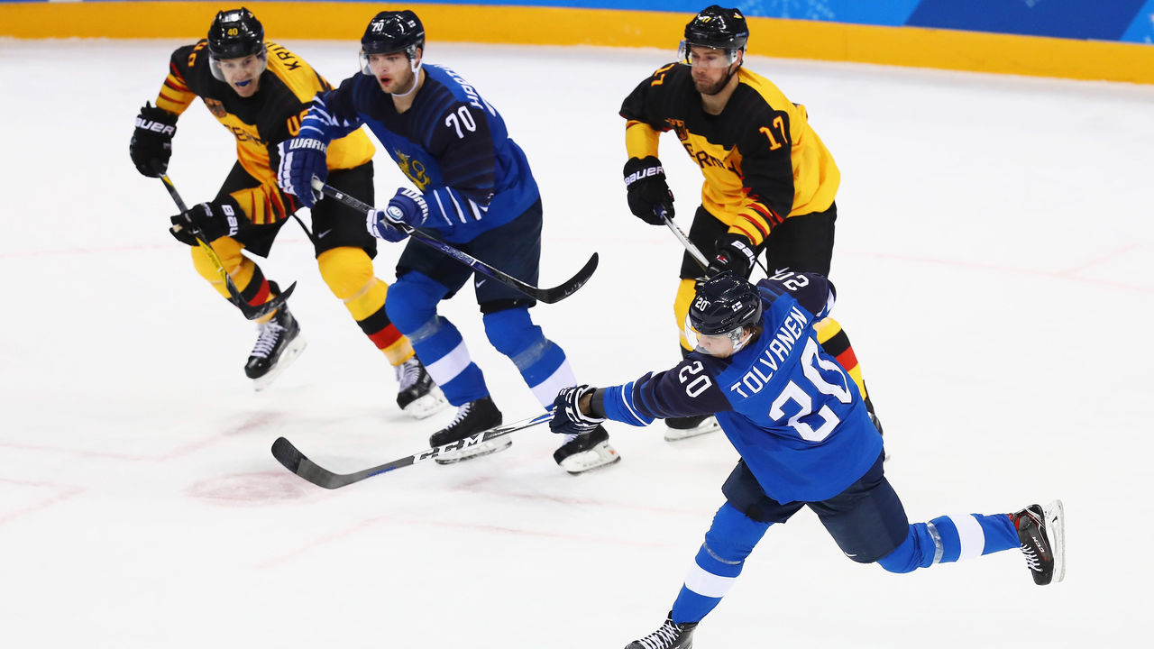 GANGNEUNG, SOUTH KOREA - FEBRUARY 15: Eeli Tolvanen of Finland shoots and scores a goal during the Men's Ice Hockey Preliminary Round Group C game on day six of the PyeongChang 2018 Winter Olympic Games at Gangneung Hockey Centre on February 15, 2018 in Gangneung, South Korea.