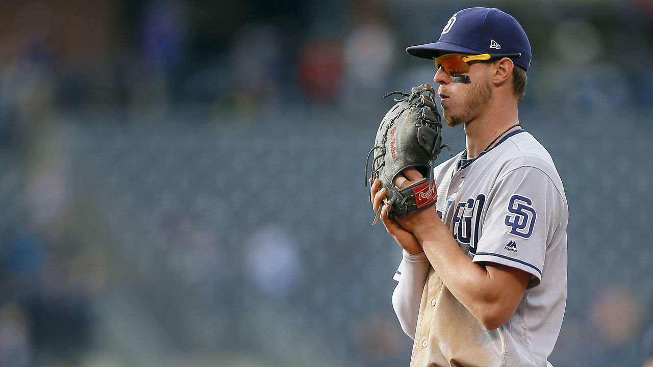 DENVER, CO - SEPTEMBER 17: Wil Myers #4 of the San Diego Padres during a regular season MLB game between the Colorado Rockies and the visiting San Diego Padres at Coors Field on September 17, 2017 in Denver, Colorado.