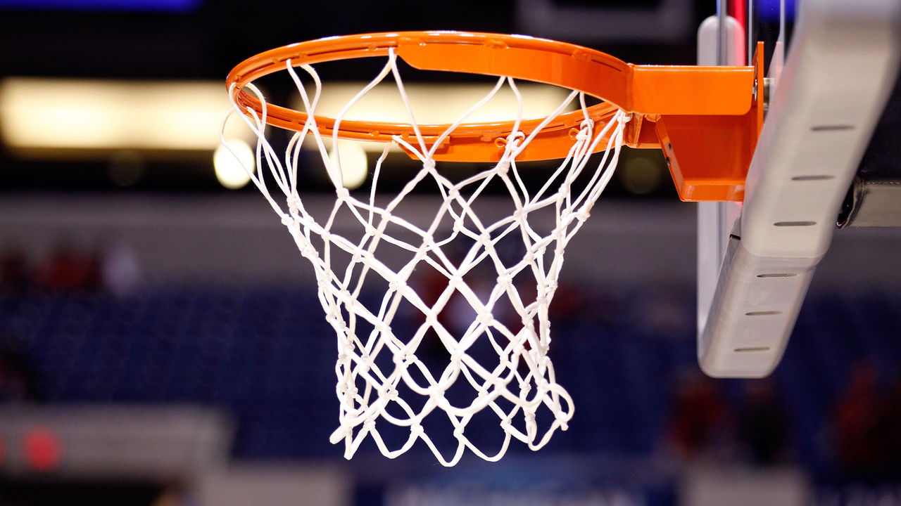 INDIANAPOLIS, IN - MARCH 31: A detail of a basket hoop, net and backboard as the Duke Blue Devils play against the Louisville Cardinals during the Midwest Regional Final round of the 2013 NCAA Men's Basketball Tournament at Lucas Oil Stadium on March 31, 2013 in Indianapolis, Indiana.