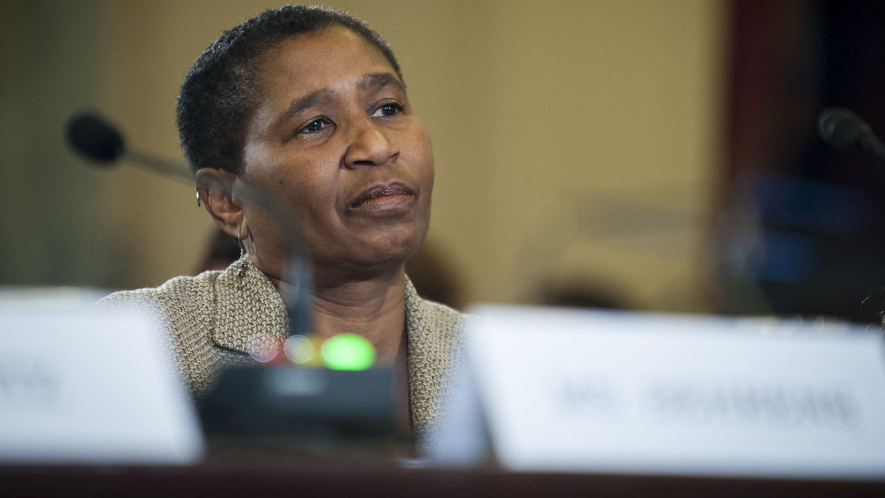 WASHINGTON, DC - DECEMBER 2: Michele Roberts, executive director of the National Basketball Players Association testifies before the Senate Commerce, Science and Transportation Committee on Capitol Hill on December 2, 2014 in Washington, DC. The committee was holding a hearing on addressing domestic violence in professional sports.