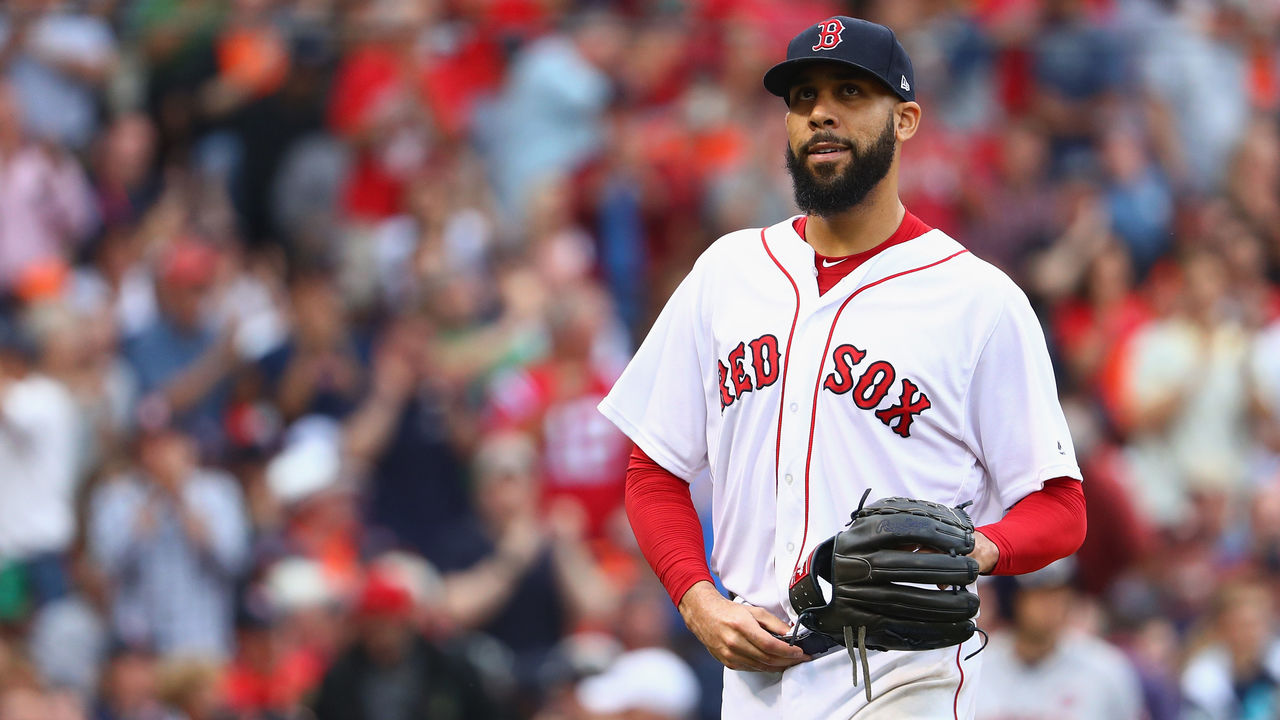 BOSTON, MA - OCTOBER 08: David Price #24 of the Boston Red Sox reacts in the fifth inning against the Houston Astros during game three of the American League Division Series at Fenway Park on October 8, 2017 in Boston, Massachusetts.
