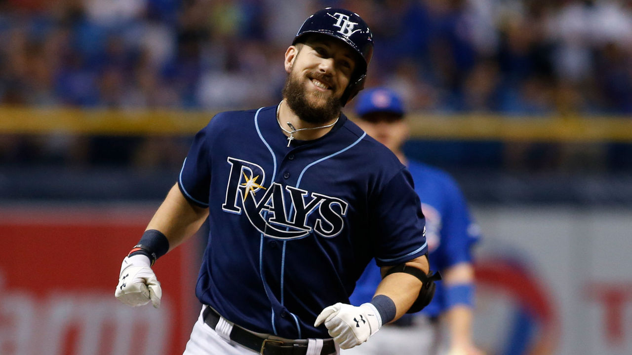 ST. PETERSBURG, FL - SEPTEMBER 20: Steven Souza Jr. #20 of the Tampa Bay Rays reacts as he rounds third base after hitting a home run off of pitcher Jon Lester of the Chicago Cubs during the first inning of a game on September 20, 2017 at Tropicana Field in St. Petersburg, Florida.