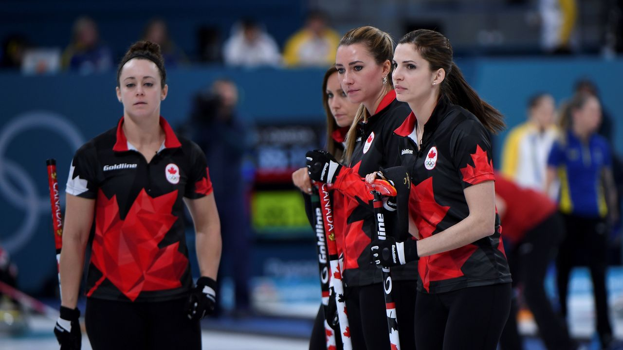 Canada's players react during the curling women's round robin session between Canada and Britain during the Pyeongchang 2018 Winter Olympic Games at the Gangneung Curling Centre in Gangneung on February 21, 2018. / AFP PHOTO / WANG Zhao