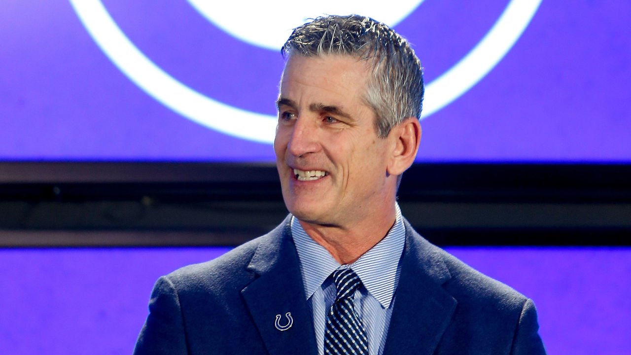 INDIANAPOLIS, IN - FEBRUARY 13: Head coach Frank Reich of the Indianapolis Colts addresses the media during his introductory press conference at Lucas Oil Stadium on February 13, 2018 in Indianapolis, Indiana.