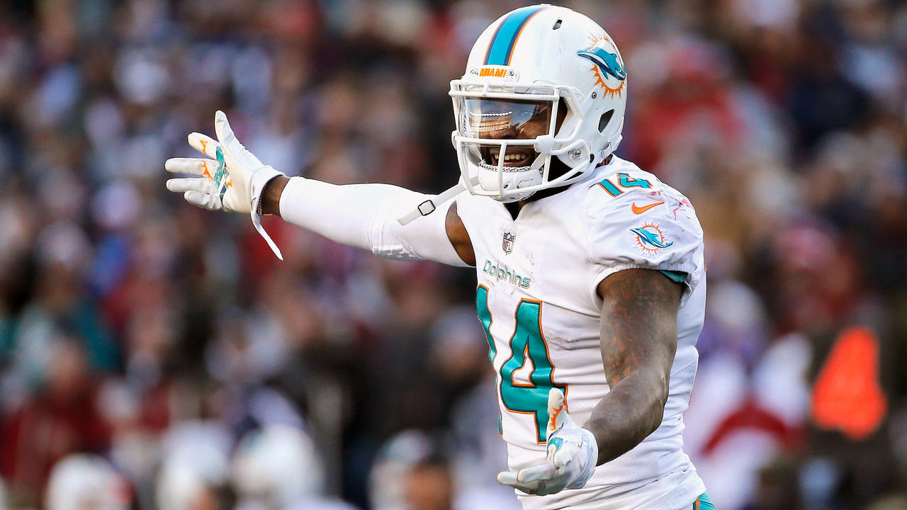 FOXBORO, MA - NOVEMBER 26: Jarvis Landry #14 of the Miami Dolphins reacts during the fourth quarter of a game against the New England Patriots at Gillette Stadium on November 26, 2017 in Foxboro, Massachusetts.