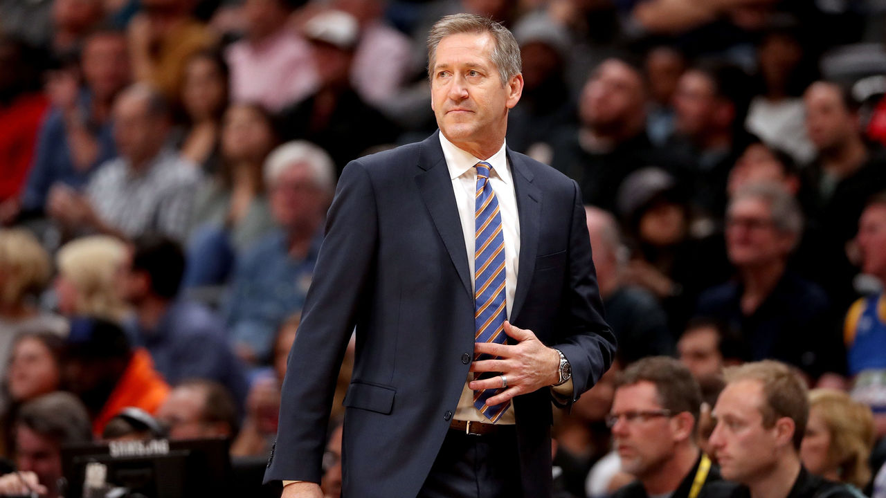 DENVER, CO - JANUARY 25: Head coach Jeff Hornacek of the New York Knicks watches as his team plays the Denver Nuggets at the Pepsi Center on January 25, 2018 in Denver, Colorado.