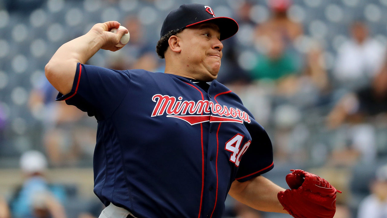 NEW YORK, NY - SEPTEMBER 20: Bartolo Colon #40 of the Minnesota Twins pitches during the first inning of a game against the New York Yankees on September 20, 2017 at Yankee Stadium in the Bronx borough of New York City.
