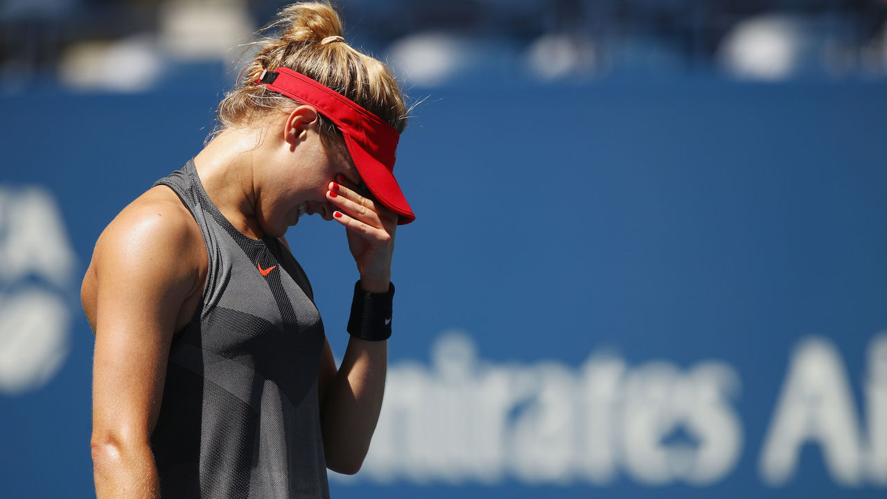 NEW YORK, NY - AUGUST 30: Eugenie Bouchard of Canada reacts against Evgeniya Rodina of Russia during their first round Women's Singles match on Day Three of the 2017 US Open at the USTA Billie Jean King National Tennis Center on August 30, 2017 in the Flushing neighborhood of the Queens borough of New York City.