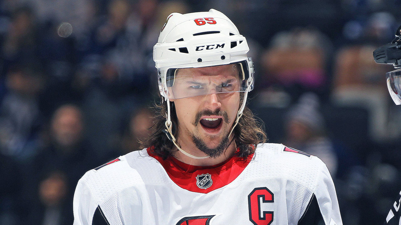 TORONTO, ON - FEBRUARY 10: Erik Karlsson #65 of the Ottawa Senators voices his displeasure over a call during play against the Toronto Maple Leafs in an NHL game at the Air Canada Centre on February 10, 2018 in Toronto, Ontario, Canada. The Maple Leafs defeated the Senators 6-3.