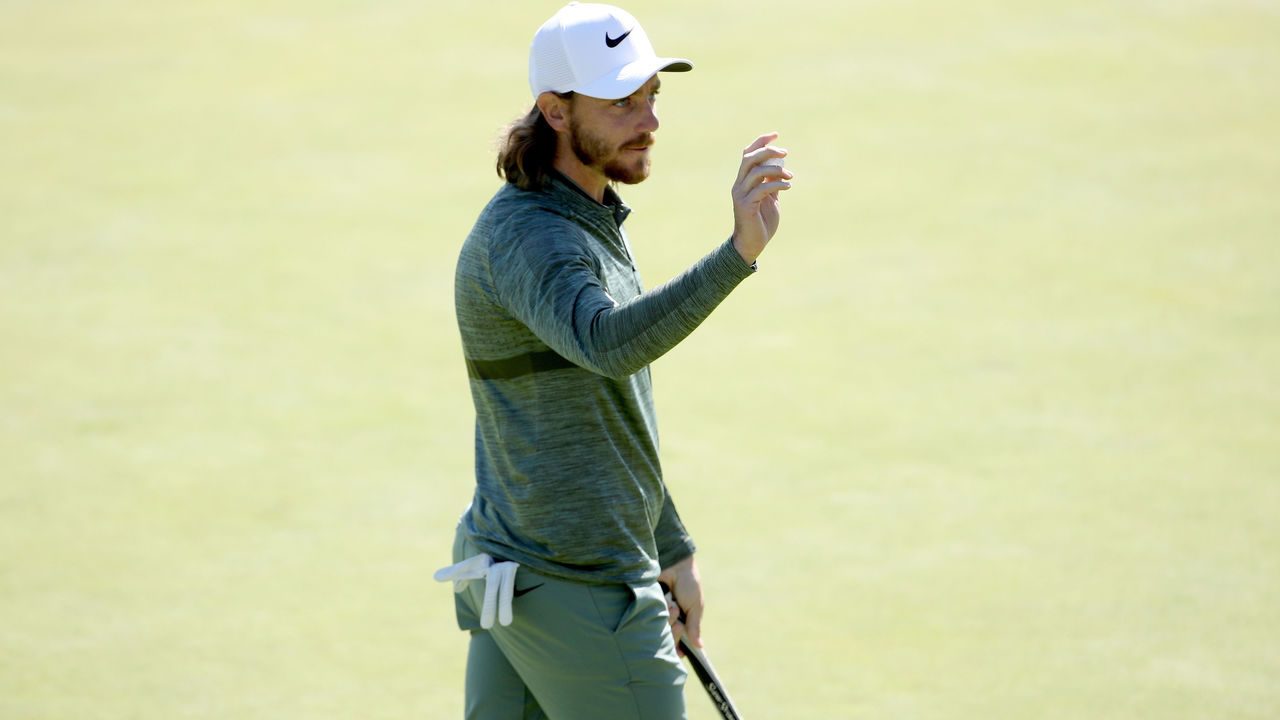 PACIFIC PALISADES, CA - FEBRUARY 15: Tommy Fleetwood of England reacts after making birdie on the ninth green during the first round of the Genesis Open at Riviera Country Club on February 15, 2018 in Pacific Palisades, California.