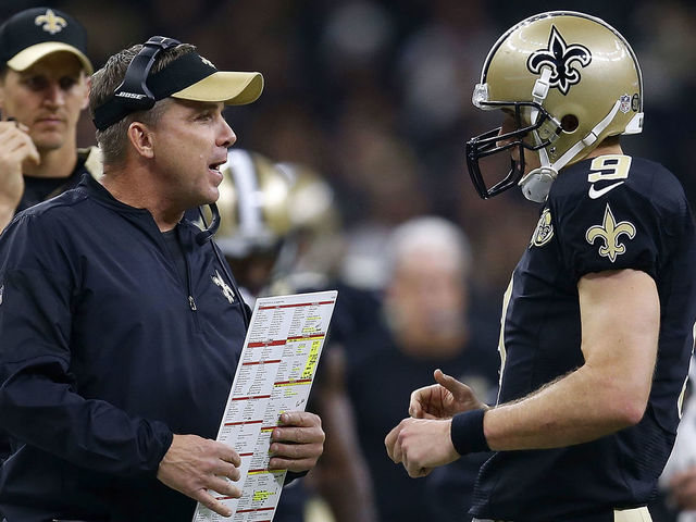 NEW ORLEANS, LA - NOVEMBER 27: Head coach Sean Payton of the New Orleans Saints talks to Drew Brees #9 during the first half of a game against the Los Angeles Rams at the Mercedes-Benz Superdome on November 27, 2016 in New Orleans, Louisiana.