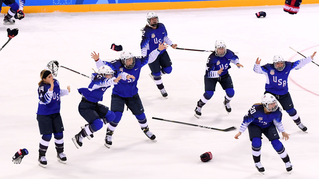 GANGNEUNG, SOUTH KOREA - FEBRUARY 22: The United States celebrates after defeating Canada in a shootout to win the Women's Gold Medal Game on day thirteen of the PyeongChang 2018 Winter Olympic Games at Gangneung Hockey Centre on February 22, 2018 in Gangneung, South Korea.