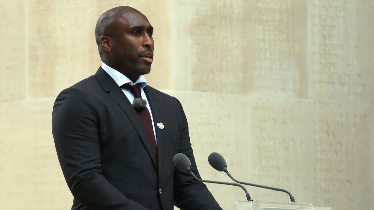 THIEPVAL, FRANCE - JULY 1: Former Footballer Sol Campbell speaks during the Commemoration of the Centenary of the Battle of the Somme at the Commonwealth War Graves Commission Thiepval Memorial on July 1, 2016 in Thiepval, France. The event is part of the Commemoration of the Centenary of the Battle of the Somme at the Commonwealth War Graves Commission Thiepval Memorial in Thiepval, France, where 70,000 British and Commonwealth soldiers with no known grave are commemorated.