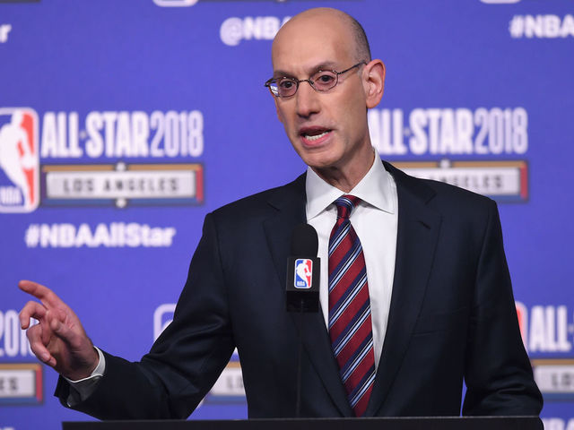 LOS ANGELES, CA - FEBRUARY 17: NBA Commissioner Adam Silver speaks onstage during the All-Star Press Conference at Staples Center on February 17, 2018 in Los Angeles, California.