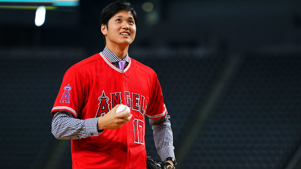 SAPPORO, JAPAN - DECEMBER 25: Shohei Ohtani of the Los Angeles Angels attends his farewell event at Sapporo Dome on December 25, 2017 in Sapporo, Hokkaido, Japan.