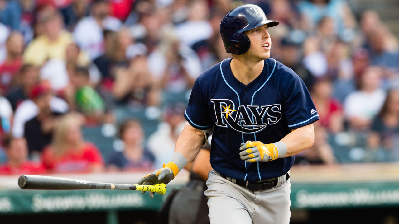 CLEVELAND, OH - MAY 16: Corey Dickerson #10 of the Tampa Bay Rays watches a solo home run clear the center field wall during the fifth inning against the Cleveland Indians at Progressive Field on May 16, 2017 in Cleveland, Ohio.