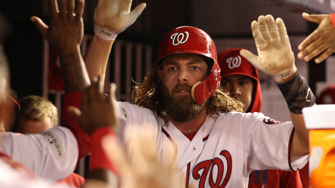 WASHINGTON, DC - OCTOBER 12: Jayson Werth #28 of the Washington Nationals celebrates after scoring against the Chicago Cubs during the sixth inning in game five of the National League Division Series at Nationals Park on October 12, 2017 in Washington, DC.