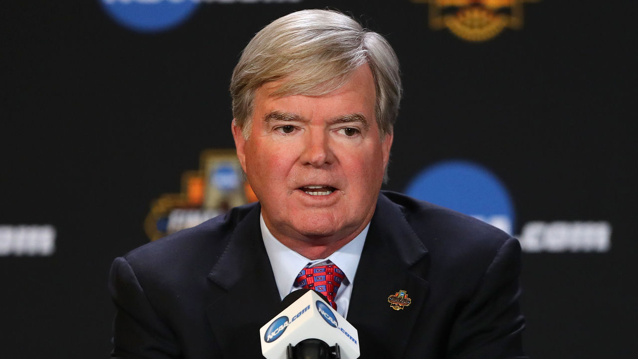 GLENDALE, AZ - MARCH 30: NCAA President Mark Emmert speaks with the media during a press conference for the 2017 NCAA Men's Basketball Final Four at University of Phoenix Stadium on March 30, 2017 in Glendale, Arizona.