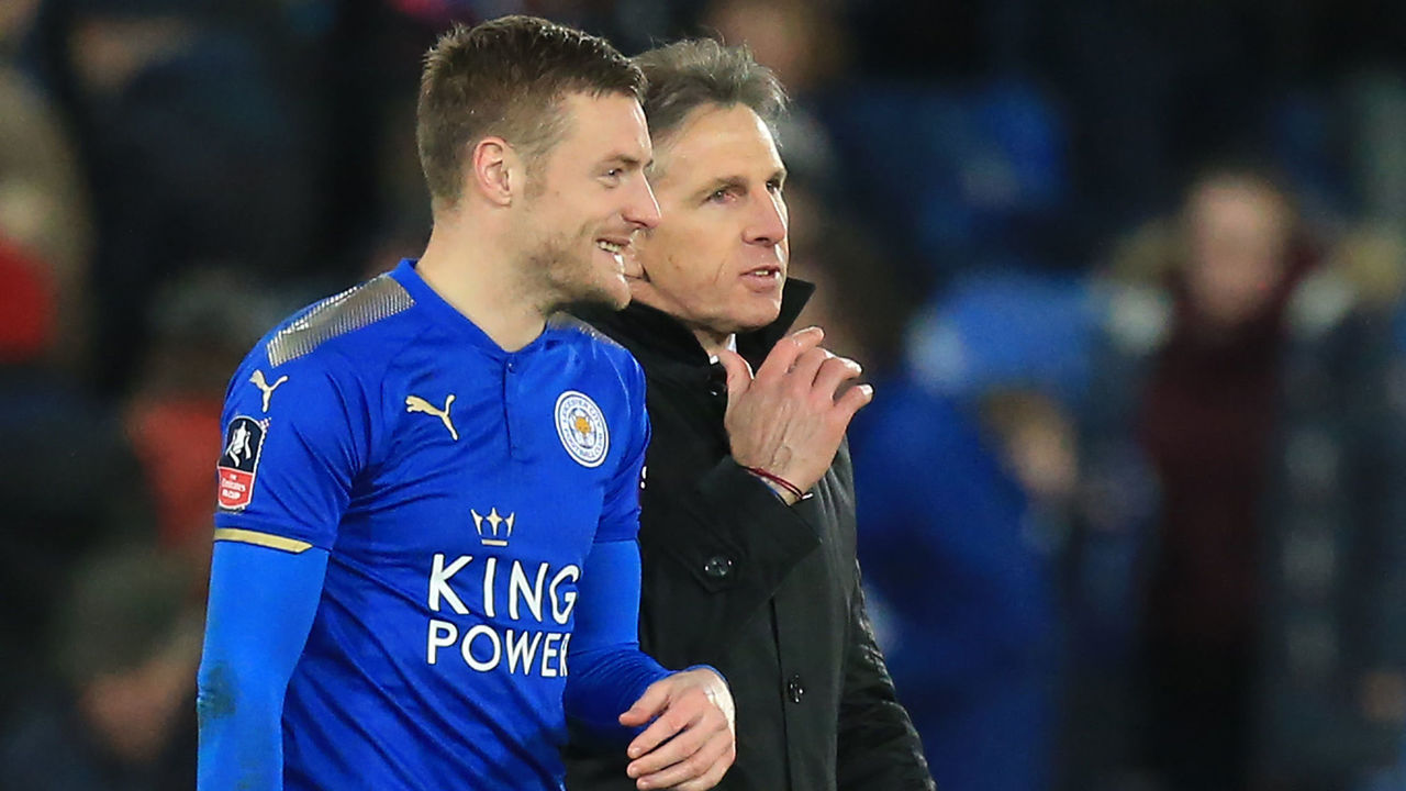 Leicester City's English striker Jamie Vardy (L) and Leicester City's French manager Claude Puel interact after the English FA Cup fifth round football match between Leicester City and Sheffield United at King Power Stadium in Leicester, central England on February 16, 2018. / AFP PHOTO / Lindsey PARNABY /
