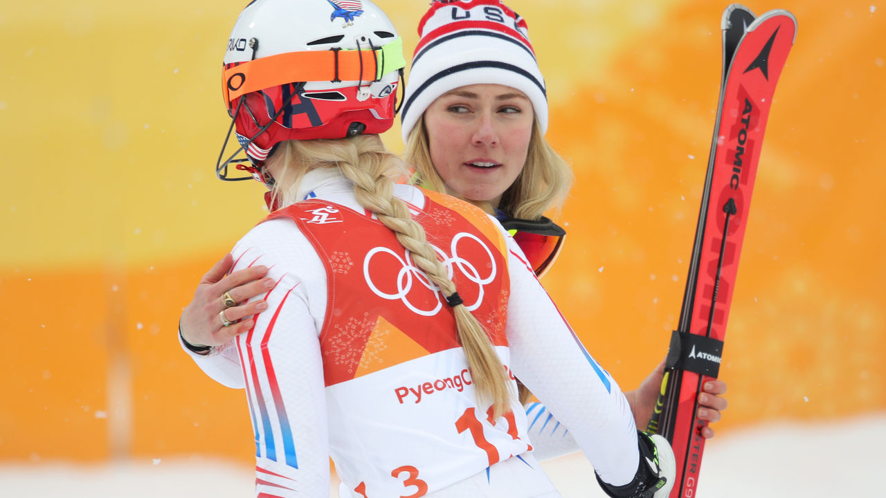 PYEONGCHANG-GUN, SOUTH KOREA - FEBRUARY 22: (L-R) Silver medalist, Mikaela Shiffrin of the United States is congratulated by Lindsey Vonn of the United States during the Ladies' Alpine Combined on day thirteen of the PyeongChang 2018 Winter Olympic Games at Yongpyong Alpine Centre on February 22, 2018 in Pyeongchang-gun, South Korea.