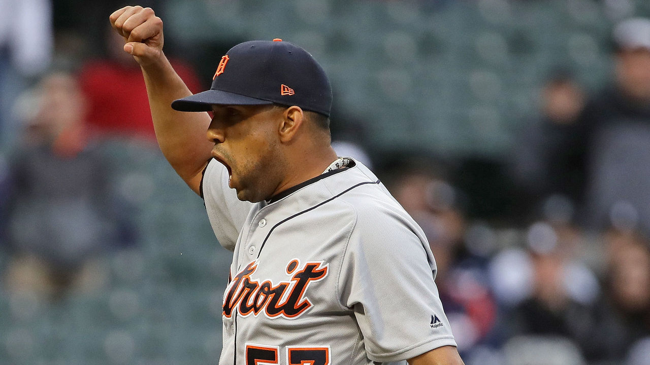 CHICAGO, IL - APRIL 04: Francisco Rodriguez #57 of the Detroit Tigers celebrates a win against the Chicago White Sox during the opening day game at Guaranteed Rate Field on April 4, 2017 in Chicago, Illinois. The Tigers defeated the White Sox 6-3.
