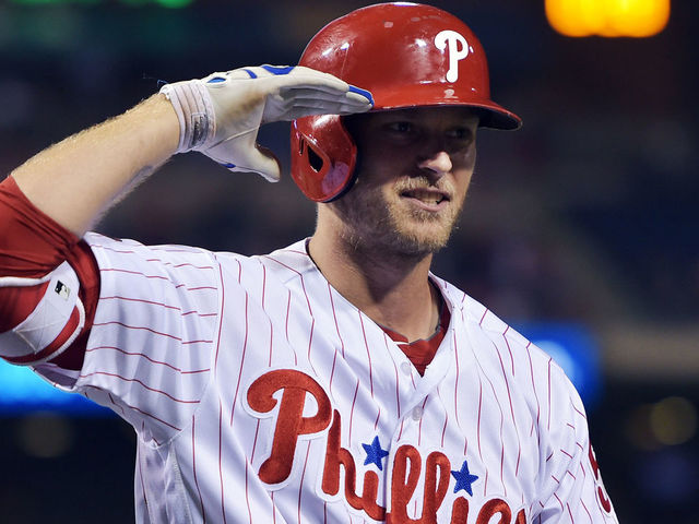 PHILADELPHIA, PA - APRIL 26: Michael Saunders #5 of the Philadelphia Phillies salutes in celebration of his two run home run in the eighth inning against the Miami Marlins at Citizens Bank Park on April 26, 2017 in Philadelphia, Pennsylvania. The Phillies won 7-4.